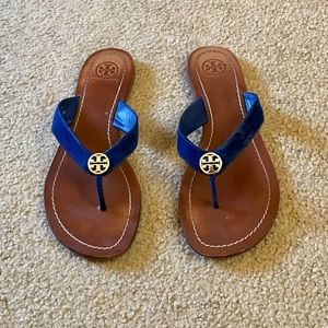 Tory Burch Thora Blue Suede Thong Sandals